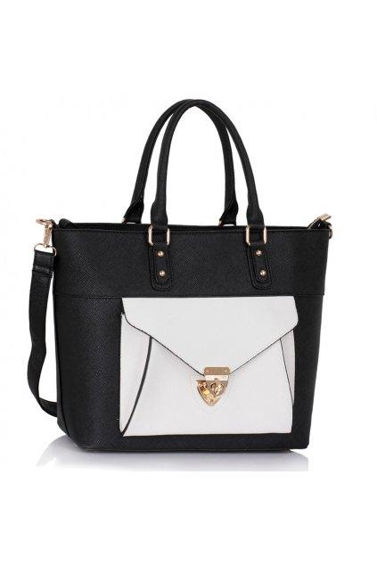 Shopper kabelka do ruky Courtney čierna / biela LS00181A