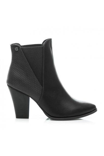 Čierne topánky na opätku 23-M52231B / S3-105P veľ.č. 37, 40 (Veľkosť UK7 / EUR 40)