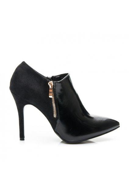 Čierne topánky na vysokom opätku LEI-48B / R15B (Veľkosť UK6 / EUR 39)