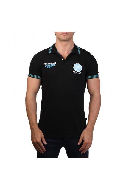 Pánske polo tričko Marshall Original čierna / tyrkysová (Veľkosť S,)