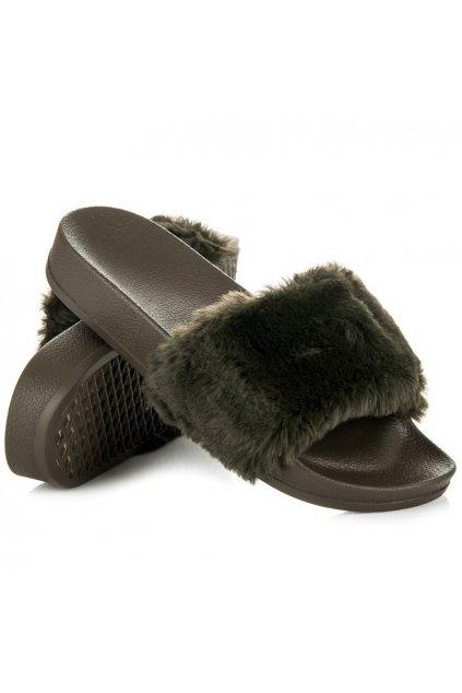 Khaki papuče s kožušinou LS-10L