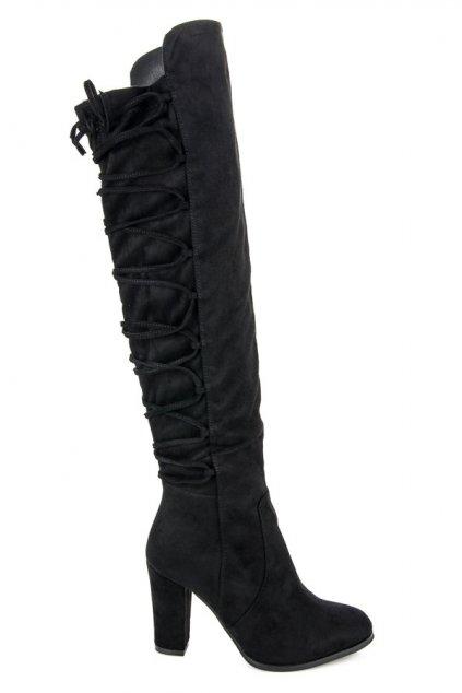 Vysoké čierne čižmy Alena 445-GG-B