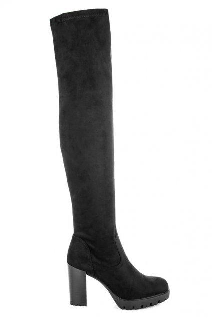 Čierne čižmy nad koleno Rebeka CD108B