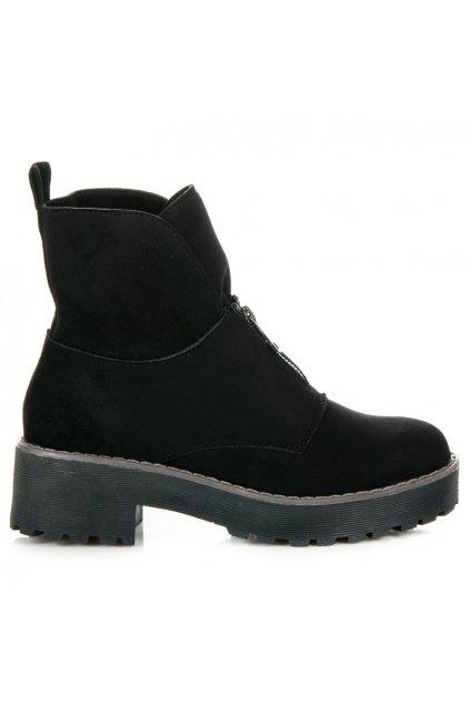 Čierne topánky na hrubej podrážke Laura 8313-1B