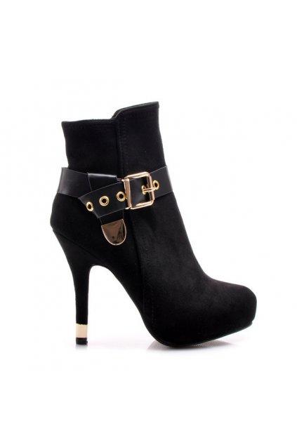 Elegantné čierne členkové topánky D13B