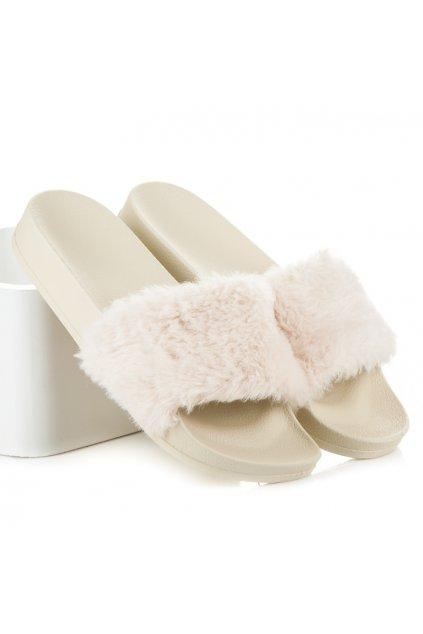Béžové papuče s kožušinou s25-14BE