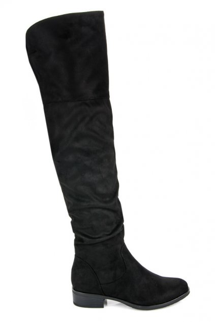 Čierne čižmy nad koleno Amanda BH62-HB-B